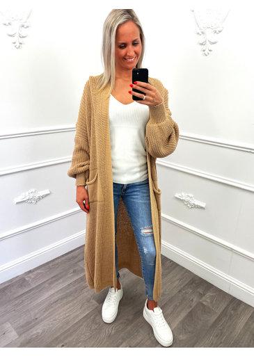 Gebreid Maxi Vest Camel