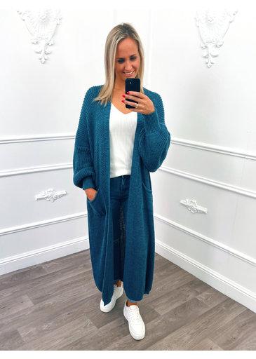 Cardigan Long en Tricot Jeans Blue