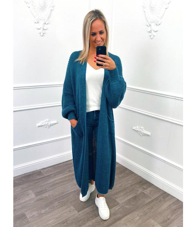Gebreid Maxi Vest Jeans Blauw