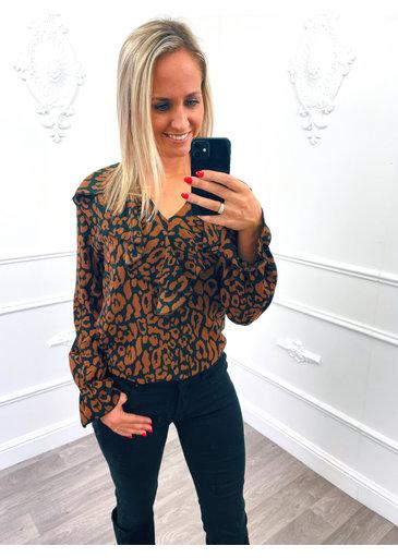 Leopard Ruffel Blouse Bruin