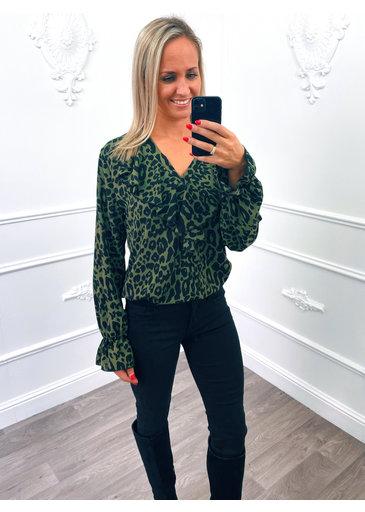 Leopard Ruffel Blouse Groen