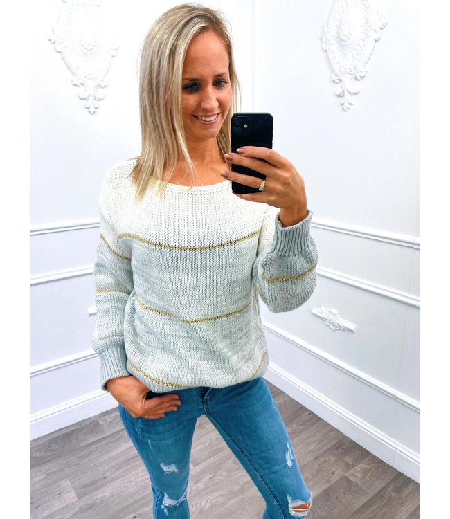 Streep Sweater Grijs