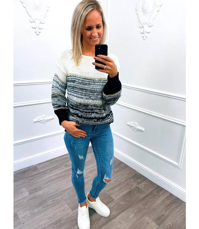 Streep Sweater Zwart