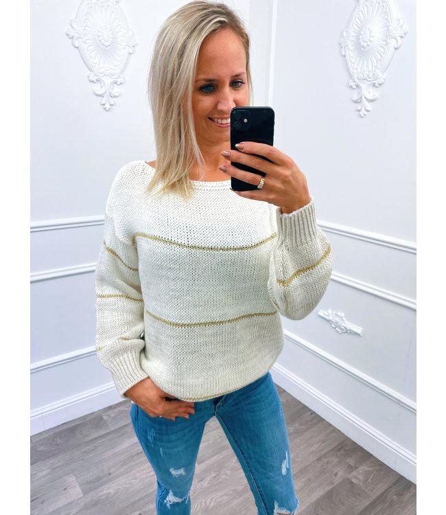 Streep Sweater Creme