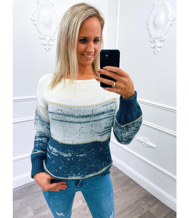 Streep Sweater Blauw