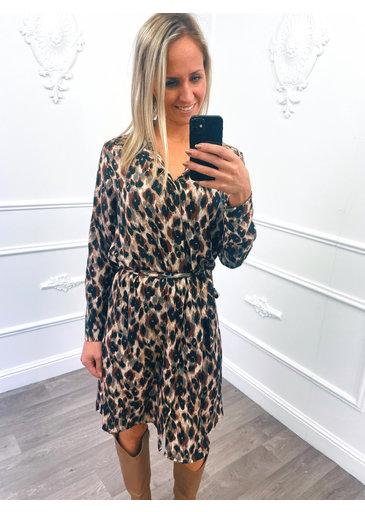 Leopard Blouse Dress Bruin