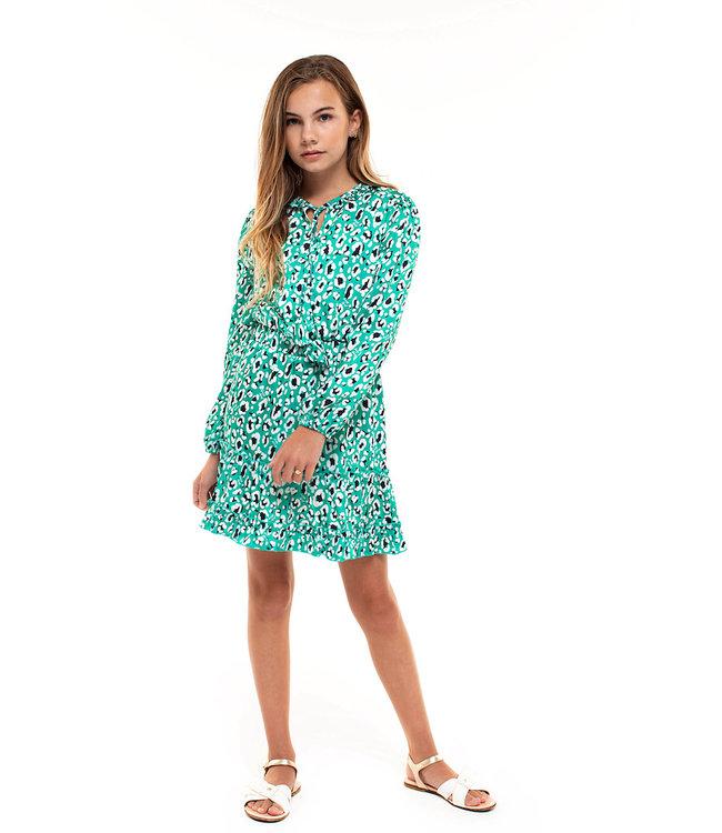Jacky Luxury groen kleedje met panter print   JL210317