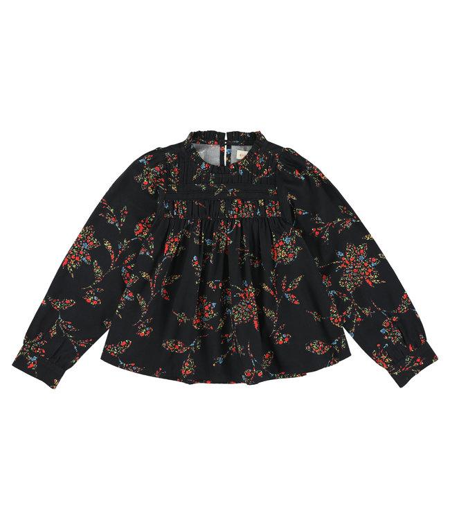 Simple Kids zwart bloesje met bloemenprint
