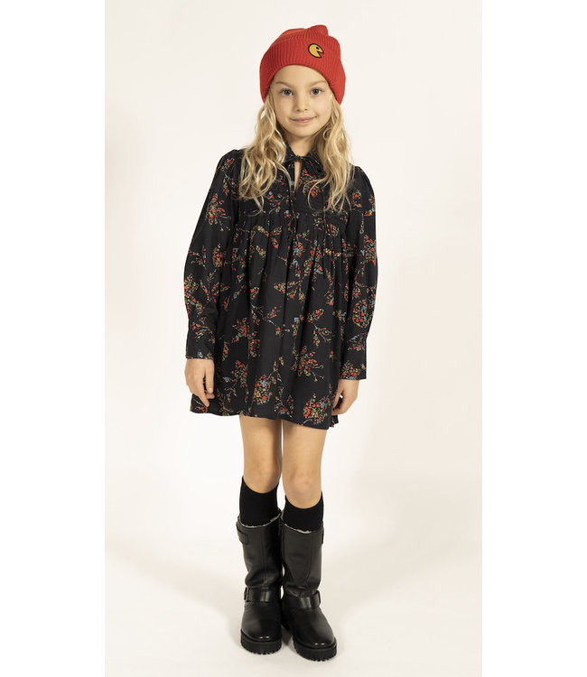 Simple Kids kort zwart kleedje met bloemenprint