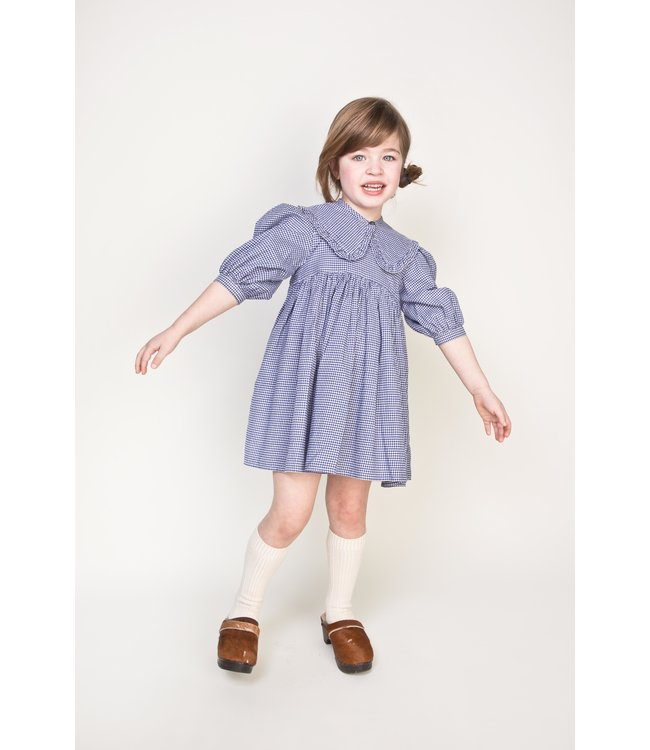 Morley blauw-wit geruit kleedje