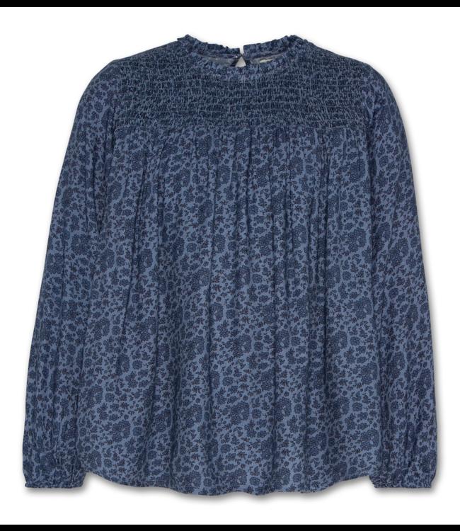 Ao76 geprint blauw bloesje