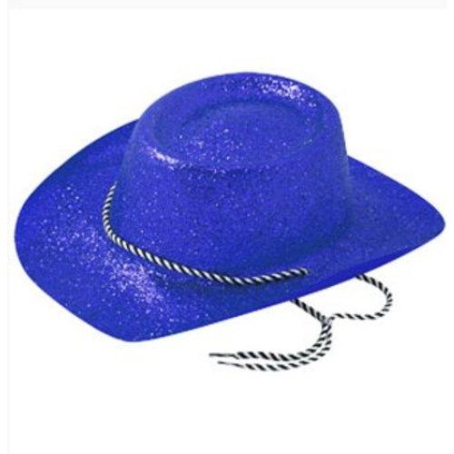 Cowboy hoed glitter blauw