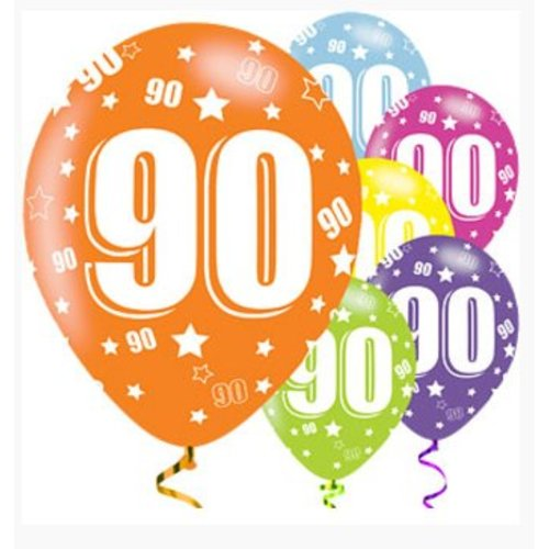 90 jaar ballonnen gekleurd