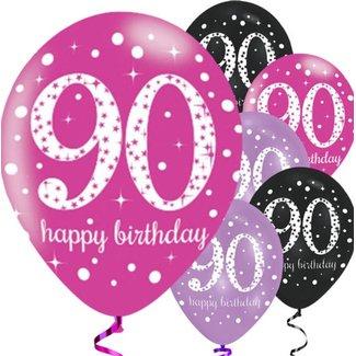 90 jaar ballonnen roze
