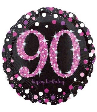 90 jaar folie ballon roze