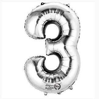 Cijfer ballon XL zilver