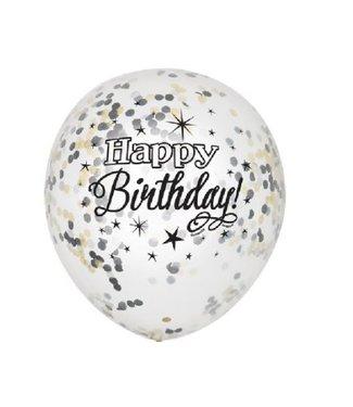 Happy birthday confetti ballonnen zwart