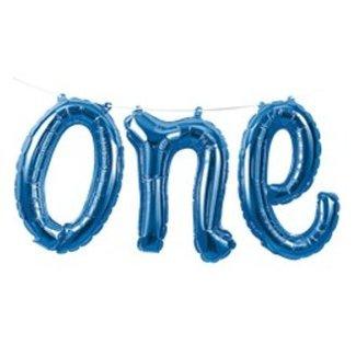 ONE blauwe tekst ballon