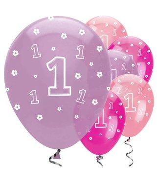 Amscan  1 jaar roze paars ballonnen