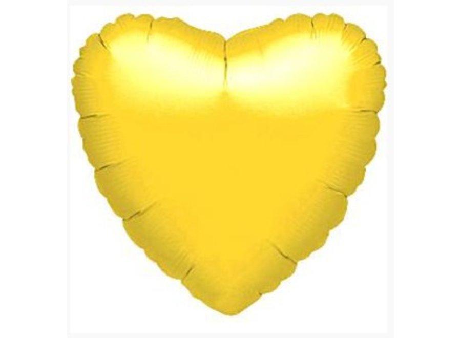Hart ballon metallic geel
