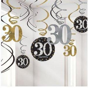 30 jaar slingers goud - zwart