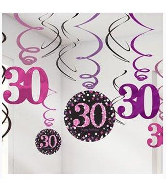 30 jaar slingers roze - zwart