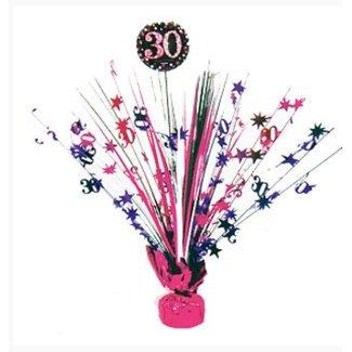 30 jaar tafel decoratie roze - zwart