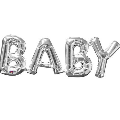 Baby tekst ballon zilver