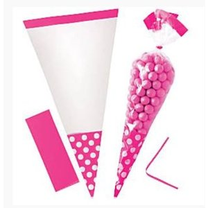 Cellofaan puntzakjes roze