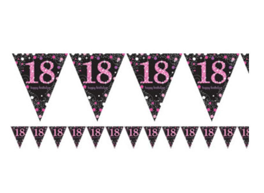 18 jaar vlaggetjes roze