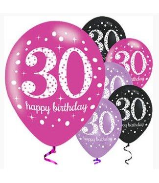 30 jaar ballonnen roze -zwart