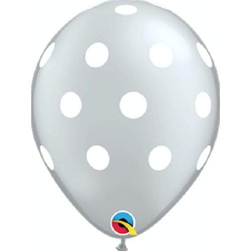 Ballonnen zilver polka dot