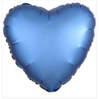 Azure blauw satijn hart ballon