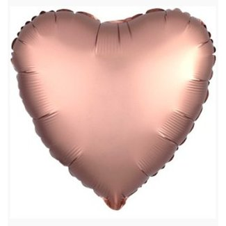 Rose goud satijn hart ballon