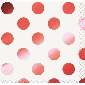 Metallic rood polka dot servetten