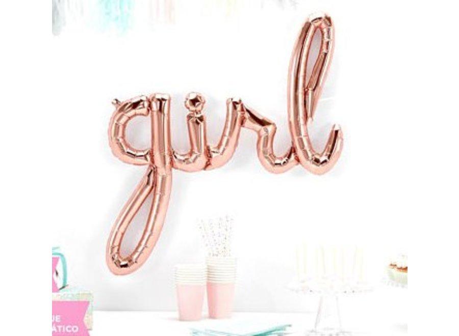 Girl rose goud tekst ballon