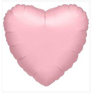 Hart ballon mat licht roze XL
