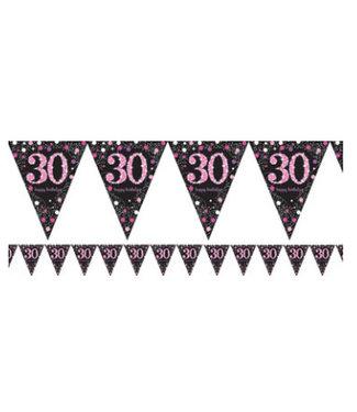 30 jaar vlaggetjes zwart - roze