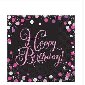 Happy birthday servetten zwart - roze