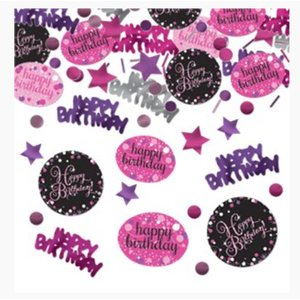 Happy birthday confetti zwart - roze