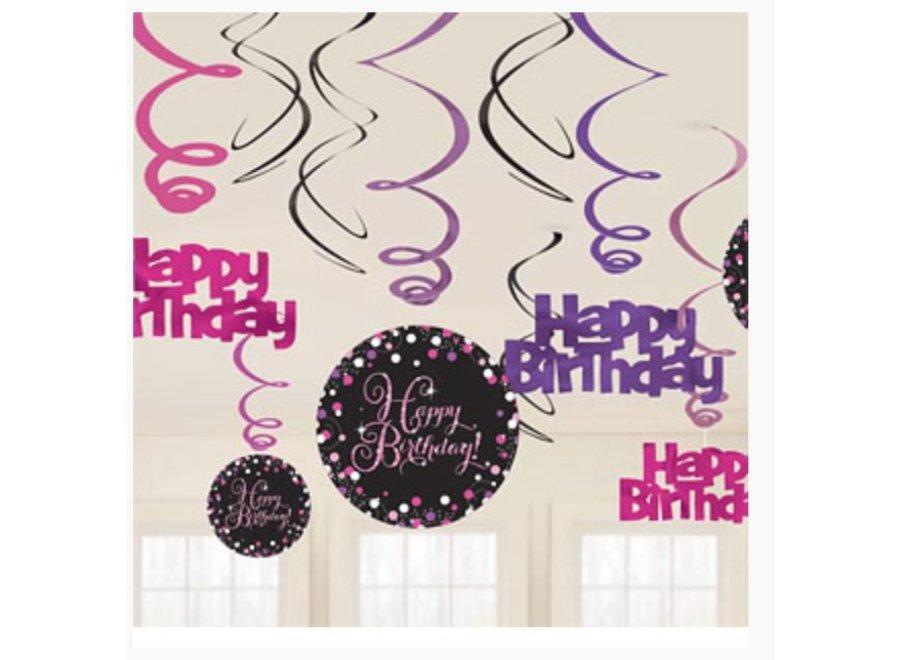 Happy birthday slingers zwart - roze
