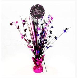 Happy birthday tafel decoratie zwart - roze