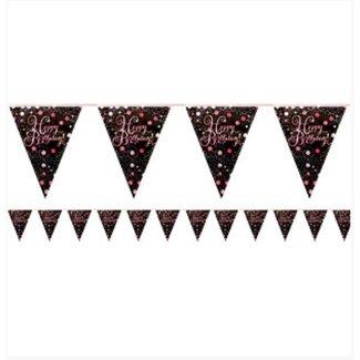 Happy birthday vlaggetjes roze - zwart