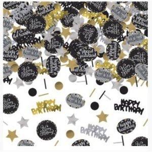 Happy birthday confetti goud zwart