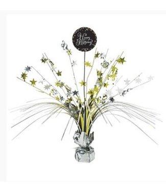 Happy Birhtday tafel versiering goud - zwart