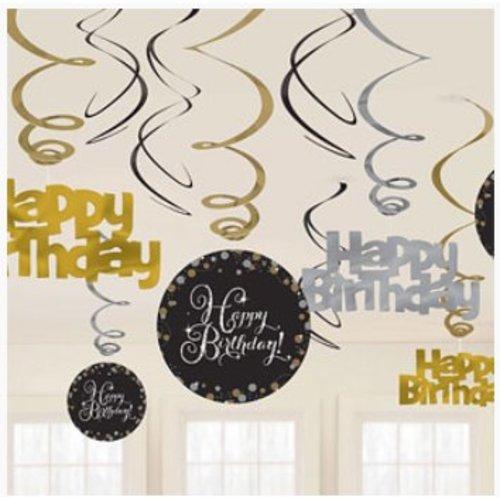 Happy Birthday slingers goud - zwart