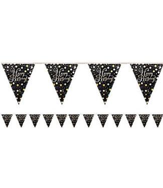 Happy birthday vlaggetjes goud - zwart