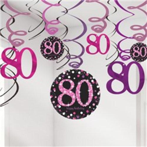 80 jaar slingers roze zwart