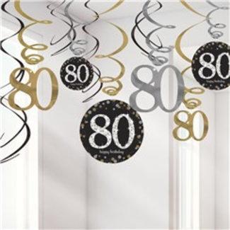 80 jaar slingers zwart goud