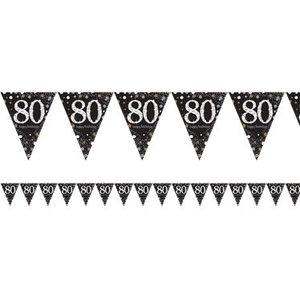 80 jaar vlaggetjes goud - zwart